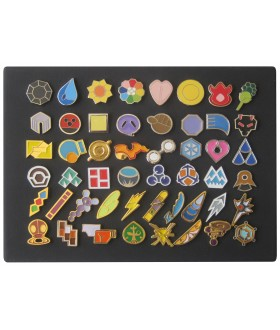 Full Set of Pokemon Gym Badges (Canvas Board Not Included) - Set of 50 Lapel Pin Badges
