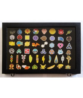 Full Set of Pokemon Gym Badges with Glass Lid Display Showcase - Set of 50 Lapel Pin Badges
