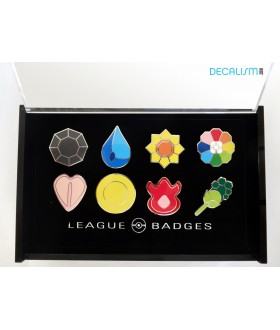 8 Pokemon Badges with Acrylic Collection Box: Kanto Gym Badges From Gen 1