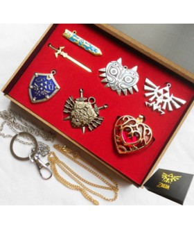 Legend of Zelda Set of 7 necklace and keychain gift box