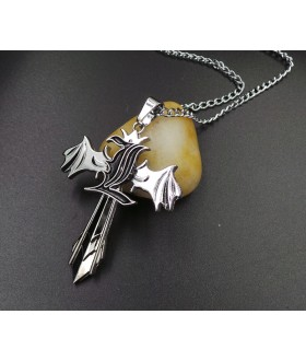 Death Note - Rotatable L shape Logo over Wing Cross Necklace