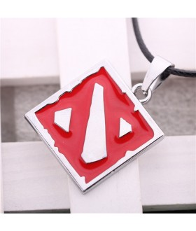 Defense of the Ancients Dota 2 Logo Necklace Pendant - Red / Silver