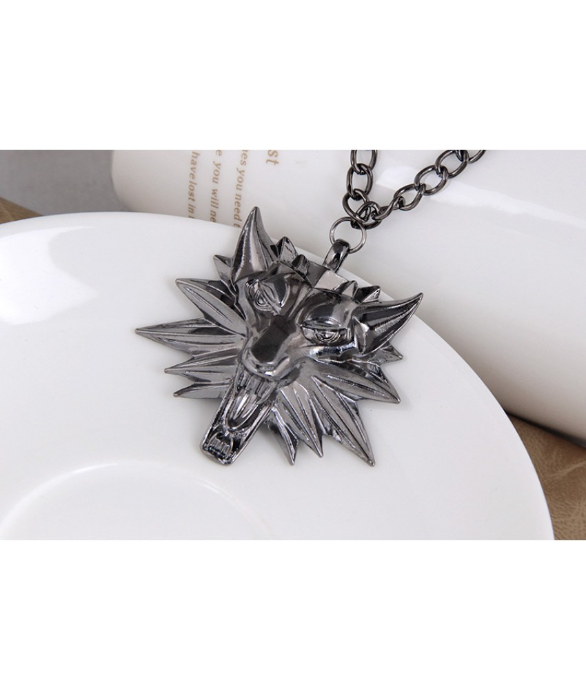 Wolf Medallion from The Witcher 3: Wild Hunt - Ancient Silver Color
