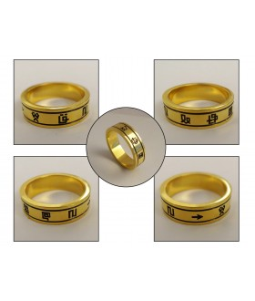 "Gold plated Digimon Holy Ring with laser engraved Digicode ""Digital Monster"""