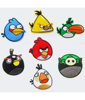 Set of 7 Angry Bird Embroidered Iron On / Sew On Patches