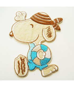 Snoopy going to Swim with Tube Embroidered Iron On / Sew On Patch