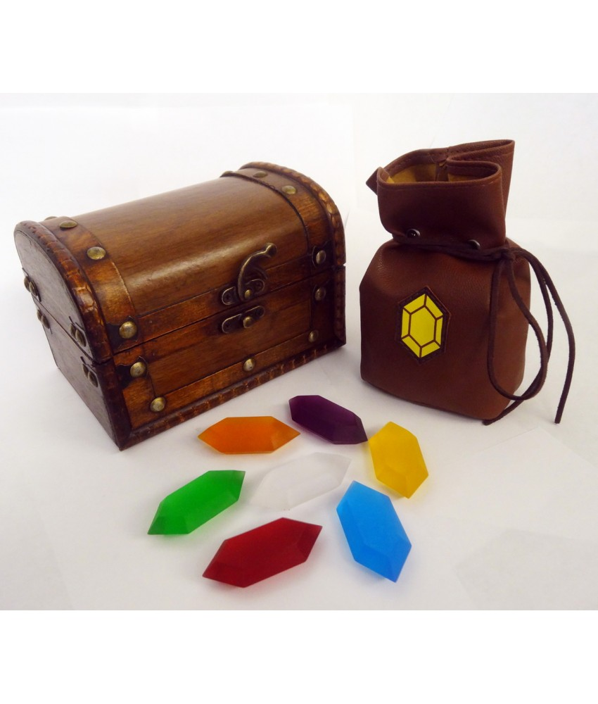 The Legend Of Zelda Rupees Set Of 7 With Rupee Wallet & Treasure Chest